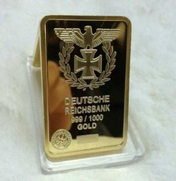 Wholesale Germany Gold Coins - ONE oz gold plated Germany Deutsche Reichsbank Gold Bar 5pcs lot free shipping,german coin bar