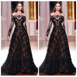 Wholesale Elie Saab Dresses For Sale - New 2016 Elie Saab Black Evening Dresses For Sale Off The Shoulder Black Lace Long Sleeves Prom Gowns Evening Custom Zuhair Murad
