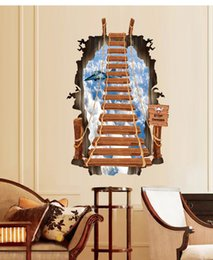 Wholesale Removable Stickers Aircraft - 3D Stair Personalized Fashion Creative Wall Stickers Ladder Sky Aircraft Decorative Wallpaper Decoration Wall Art Poster For Living Room Bed