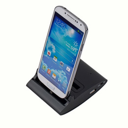 Wholesale Dual Charging Cradle Galaxy - 1pcs Dual USB Sync Phone harger Battery Charging Dock Cradle Docking Holder for Samsung Galaxy S4 i9500 Free Shipping