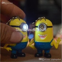 Wholesale Despicable Talking - Wholesale-Hot selling Despicable me 2 LED Keychain talk minions press button say I love you gift for lovers