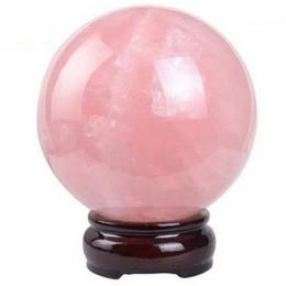 Wholesale Pink Rose Quartz Jewelry - Shellhard 30mm Natural Pink Rose Quartz Magic Crystal Healing Ball Sphere + Stand