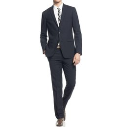 Wholesale Extra Slim Plus - 2016 New Arrival Fashion Men's Suits Extra Slim Fit Navy Pinstriped Two Button New Men's Suit Set