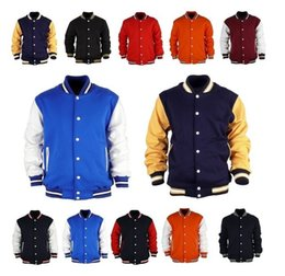 Wholesale Uniform Buttons - East Knitting 2016 Premium Varsity College Letterman Baseball Jacket Uniform Jersey Hoodie Hoody US M L XL XXL