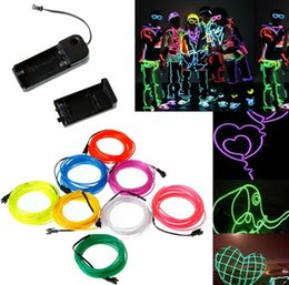 Wholesale Neon Halloween Costumes - Flexible Neon Light 8 Colors 3M Glow EL Wire Rope Tube Car Dance Party Costume with Controller Halloween Decoration Christmas Decoraion