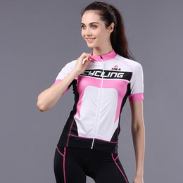 Wholesale Womens White Lycra Cycling Shorts - 2015 New Hot 6Colors On Sale Womens Cycling Jerseys Plus Shorts Sets Pink Black White Mixcolors,Girls Ladies Fashion Summer Style Bike Wear