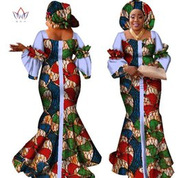 Wholesale Neck Design For Dress Piece - african dresses for women fashion design new african bazin fashion design dress long dress with scarf african clothes WY2347