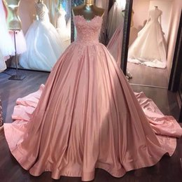 Wholesale Masquerade Ball Cheap Dresses - Sweetheart Lace Appliques Pink Quinceanera Dresses 2017 Long Cheap Formal Court Train Masquerade Ball Gowns Sweet 15 Dresses Free Shipping