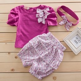 Wholesale Girls Summer Pants Floral - 2015 new Baby girls floral suit three-piece sets (shirt + shorts pants+headband) Kids Outfit sets girls clothing kids clothes 9pcs=3sets
