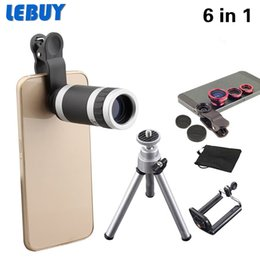 Wholesale Iphone 3in1 Kit - Wholesale-2016 New 6in1 Phone Camera Lens Kit 8x Telephoto Lens 3in1 Fish Eye + Wide Angle + Macro Lens+Mini Tripod For iphone 6 6s S6