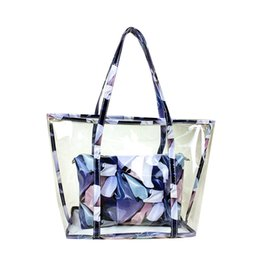 Wholesale Jelly Beach Bag Wholesale - Composite Bag Summer Beach Colorful Girl Flower Tote Handbags Transparent Jelly Bags Large Shoulder Bags for Women