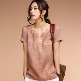 Wholesale Solid Color Vintage Summer Tops - Women Blouses Blusas Femininas 2015 Summer Tops Vintage Stitching Cotton Linen Short-sleeved Women Plus Size Shirt.