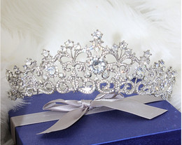 Wholesale Wedding Tiaras Free Shipping - Snow Queen Crown Tiaras Wedding And Party Hair Jewelry 2015 May Style Free Shipping Best Selling