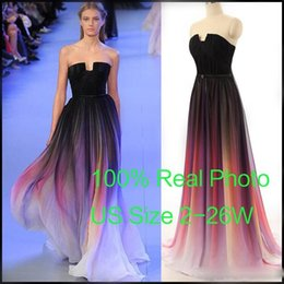 Wholesale Elie Saab Real Photo - Cheap 2015 Elie Saab Evening Prom Dresses Belt Backless Gradient Color Black Chiffon Formal Occasion Party Gowns Real Photos Plus Size Sexy