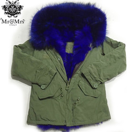 Wholesale Rabbit Fur Winter Jackets - MR & MRS lined with rabbit fur mini canvas parka winter women furs jackets hood with real raccoon fur
