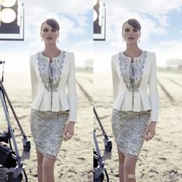 Wholesale Strapless Lace Sheath Wedding Dress - Carla Ruiz 2016 New Mother Of Bride Pant Suits Long Jacket Vintage Lace Knee Length Satin Bride Groom Wedding Guest Dreses BO9311