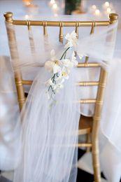 material de hoja Rebajas Funda para silla Fajas Organza Material 50 PC Sash Boda Decoraciones para banquetes de boda Arco 20 colores, Decoración de bodas, Envío gratis