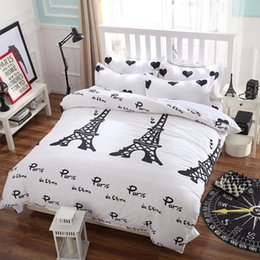 Wholesale Duvet Cover Queen Gray - New bedding set,I love Paris style,Comforter cover set,quilt cover  bed sheet Pillowcase,Duvet Cover set,no quilt