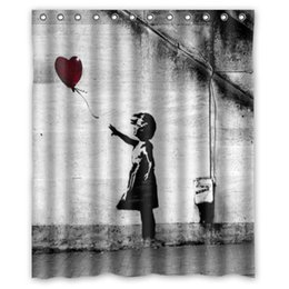 Wholesale Online Sexy Girls - Super Sexy Balloon Girl Banksy Shower Curtain Bathroom Waterproof 60x72 online top quality