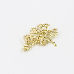 Wholesale Pearl Branches - Top Quality Attractive Trendy Retro 18K Gold Plated Tree Branch Pearl Collar Brooch Pin Men Women Jewelry Free Shipping