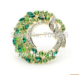 Wholesale Diamante Pin Clip - 2 inch Gold Wreath Brooch Rhinestone Crystal Diamante Prom Party Gift Pins Scarf Clip Buckle