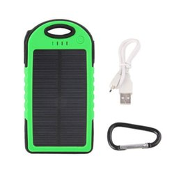 Wholesale External Power Cable - 5000mAh LED Dual USB Solar Panel Portable External Power Bank For Mobile Phone Double USB with USB Cable