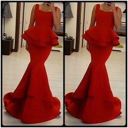 Wholesale Cheap Unique Satin Gowns - Elegant Red Mermaid Prom Dresses 2016 Unique Designer Sweetheart Neck Peplum Waist Floor Length Formal Evening Dress Cheap Party Gown
