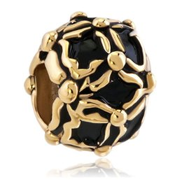 Wholesale Handcraft Beads - Gold plating Jewelry handcraft colors Enamel BLACK Faberge Egg charm Russion Egg Beads Fits for Bracelets