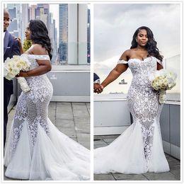 Wholesale Elegant Gardens - Elegant Plus Size Lace Mermaid Wedding Dresses Off The Shoulder Tulle Appliqued Court Train Bridal Gowns Robe de soriee 2018