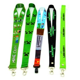 Wholesale Carabiner Keychain Strap - 2015 NeW Cell Phone LaMinecraft nyard Strap Charm Keychain Key ID Long Straps Cartoon Keychains Straps 6 Styles