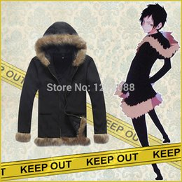 Wholesale Izaya Cosplay Coat - Anime Durarara !! Izaya Orihara Cosplay Costume Coat unisex Jacket Hooded thicken cotton-padded clothes Winter Warm coat