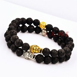 Wholesale Budda Bracelets - 2015 New Design Budda Yoga Bracelet Men's Beaded Energy Lava Stone Bracelet Antique Silver and Gold Buddha BraceletBest Selling Gift Jewelry