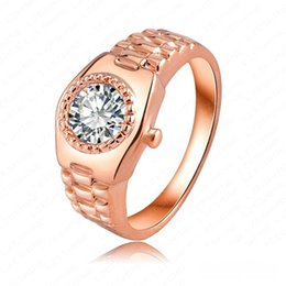 Wholesale Rose Ring Watch - Luxury Top hot Sale Exquisite Swarovski Elements Crystal 18K ROSE Gold Plated lovely Ring watch style cute Austria Crystal Free Shipping