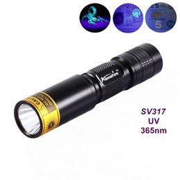 Wholesale Mini Led Flashlight Aa Battery - ALONEFIRE SV317 365nm Mini rechargeable UV ultraviolet light detector lamp flashlight For 1 * AA   14500 battery