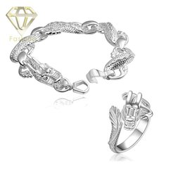 Wholesale Dragon Ring Bracelet Set - 2017 Cheap Silver Plated Retro Chinese Dragon Bracelet and Ring Jewelry Sets Punk Animal Style Wholesale