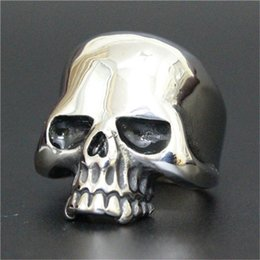 Wholesale Wholesale Biker Rings Free Shipping - 5pc lot Free Shipping Pupolar Ghost Skull Ring 316L Stainless Steel Biker Style Lastest Cool Skull Ring