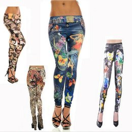 Wholesale Silver Leggings For Women - Wholesale-Novelty Tattoo Leggings for Women Ladies Fashion Sexy Cute Leggins skinny Jeans pants Jeggings Punk Gothic Legings