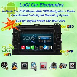 Wholesale Touch Screen Radio For Prado - Car dvd Multimedia radio android player for Toyota Prado 120 2003- 2009,autoradio CD, gps navigation,Pure android 4.4.4, Quad Core