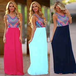 Wholesale Tank Maxi Dress Xl - Wholesale-Summer style 2016 women sleeveless Tank long dress fashion wave striped color print casual maxi dresses bohemian beach vestidos