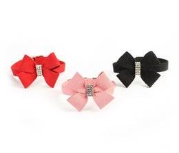 Wholesale Large Dog Bow Ties - Free Shipping! Rhinestone Bow Neck Tie Soft Velvet Pet Puppy Collars for Small and Medium Dog Accessories