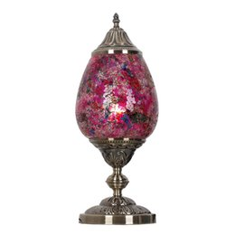Wholesale Stone Glass Mosaic - Southeast Asia Mosaic Bedroom Desk Lamps Kid's Room Glass Desk Lights Lamp Living Room Table Light Fixtures