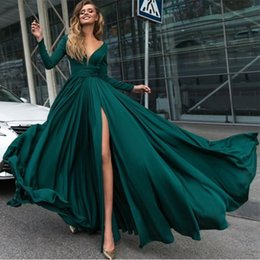 Wholesale Split Sleeve Occasion Dresses - Hunter Green High Split Prom Dresses 2018 V Neck Long Sleeves A Line Long Fashion Royal Blue Evening Gowns Special Occasion Dress Cheap
