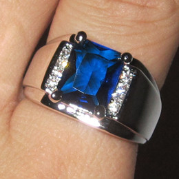 Wholesale Emerald 925 - Men's 925 Silver Filled Emerald-cut Blue Sapphire with CZ Side Stone Ring