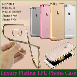 Wholesale Luxury I5 Covers - Royal Luxury Plating Gilded TPU Clear Phone Case Skin For Apple iPhone 6  6S Plus Silicone Soft Back Case Cover I5 5s Samsung S6 Edge Plus