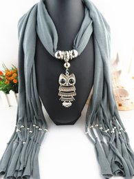 Wholesale Necklace Scarve - Fashion Oval Pendant Necklace Collares 2015 Brand New Charm Wrap Jewelry Scarf Silver Plated Necklace Crystal Owl pendant scarve For Women