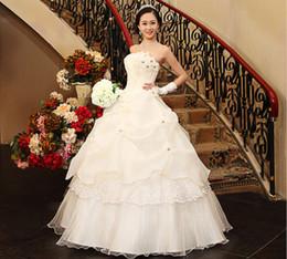 Wholesale Korean Princess Photo - The new bride wedding dress elegant sweet flowers wedding dress white princess Korean Korean Qi