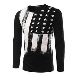 Wholesale mens flag t shirt - Autumn Fashion Flags Printed T Shirts Men Long Sleeve Cotton Man T-Shirt Stars Mens t shirt Tops Tee Shirt