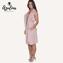 Wholesale Trench Coat For Women Pink - AZULINA Brand Casual Trench For Women Slim Ladies Sleeveless Pink Long Female Trench Coat Femme Spring Summer With Belt Sashes