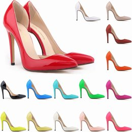 Wholesale High Heel Pump Designs - Classic Sexy Patent Leather High Heels Women Pumps Shoes Spring Brand Design Wedding Shoes Pumps 20 Colors Size 35-42 302-18PA