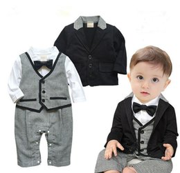 Wholesale Long Coats For Sale - Wholesale 2015 New style Baby boys Cotton long sleeve coat + Gentlemen rompers outfits Hot sale DHL for free shipping